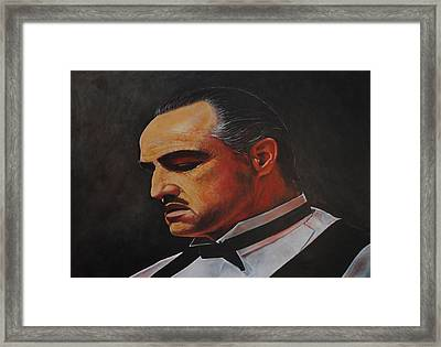 Marlon Brando The Godfather Framed Print by David Dunne