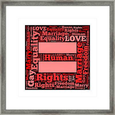 Marriage Equality For All Framed Print by Amy Cicconi
