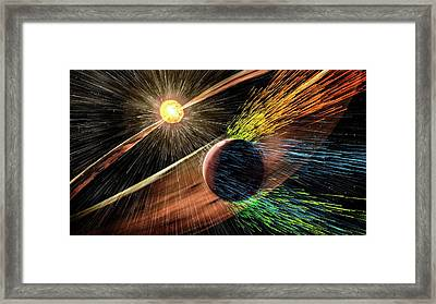 Mars Losing Atmosphere In Solar Wind Framed Print by Nasa/gsfc