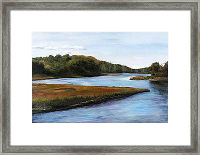 Framed Print featuring the pastel Marshside by Cindy Plutnicki