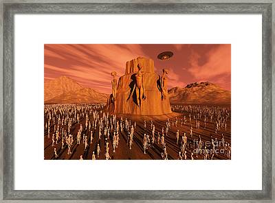 Martians Gathering Around A Monument Framed Print