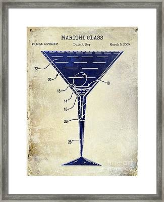 Martini Glass Patent Drawing Two Tone  Framed Print by Jon Neidert