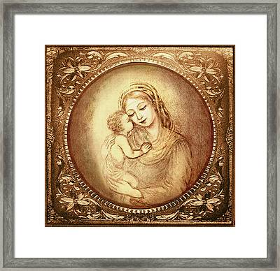 Mary And Jesus Framed Print by Ananda Vdovic