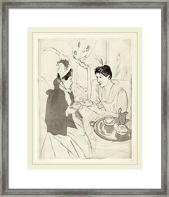 Mary Cassatt, Afternoon Tea Party, American Framed Print