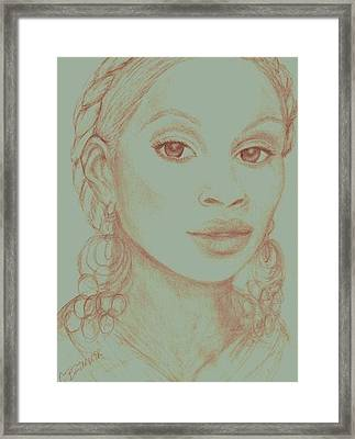 Framed Print featuring the drawing Mary J Blige by Christy Saunders Church