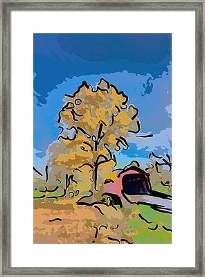 Maryland Covvered Bridge In Autumn Framed Print