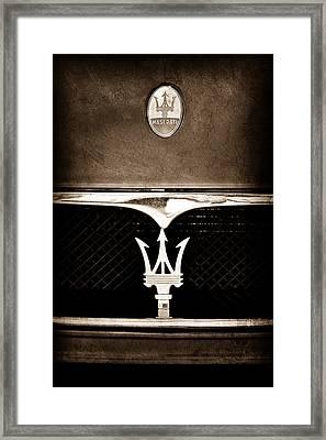 Maserati Hood - Grille Emblems Framed Print by Jill Reger