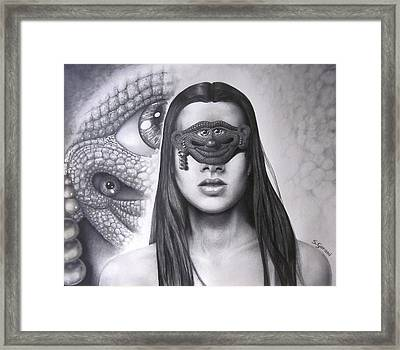Framed Print featuring the drawing Masked Beauty by Geni Gorani