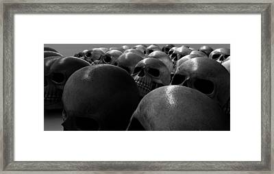 Massacre Of Skulls Framed Print by Allan Swart