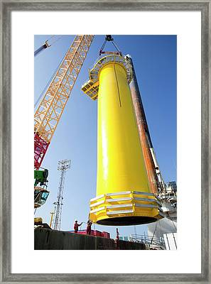 Massive Crane Lifting A Transition Piece Framed Print by Ashley Cooper