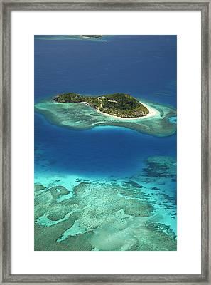 Matamanoa Island And Coral Reef Framed Print by David Wall