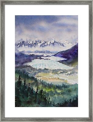 Framed Print featuring the painting Matanuska Glacier by Karen Mattson