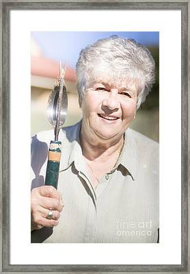 Mature Woman With Garden Tool Framed Print by Jorgo Photography - Wall Art Gallery