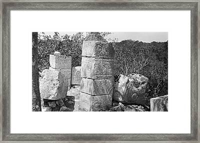 Mayan Temple Carvings Framed Print