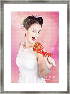Mc Female Pin Up Singing With Lollipop Microphone Framed Print by Jorgo Photography - Wall Art Gallery