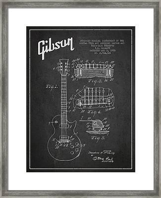 Mccarty Gibson Les Paul Guitar Patent Drawing From 1955 -  Dark Framed Print by Aged Pixel