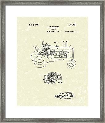 Mccormick Tractor 1942 Patent Art Framed Print by Prior Art Design