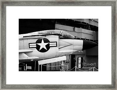 Mcdonnell F3h2n F3b F3 Demon On The Flight Deck On Display At The Intrepid Sea Air Space Museum Framed Print