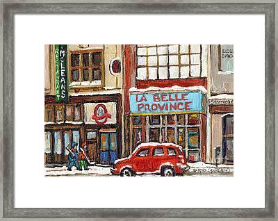 Mcleans Irish Pub Montreal Framed Print by Carole Spandau