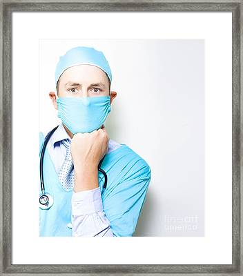 Md Or Medical Doctor Thinking With Hand To Face Framed Print