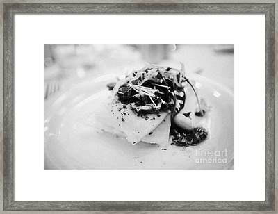 Meal Of Prepared Grilled Stockfish And Salsa Norway Europe Framed Print by Joe Fox