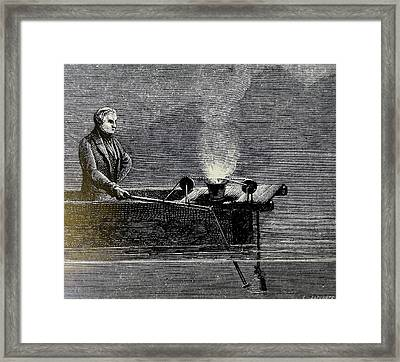 Measuring The Velocity Of Sound In Water Framed Print by Universal History Archive/uig