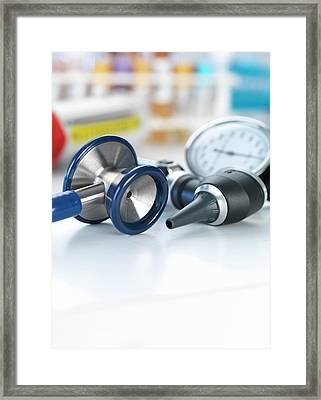 Medical Instruments Framed Print by Tek Image