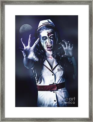 Medical Zombie Looking To Kill At Dead Of Night Framed Print