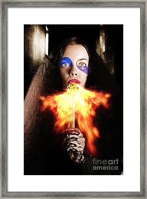 Medieval Jester Breathing Fire During Carnival Act Framed Print by Jorgo Photography - Wall Art Gallery