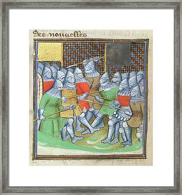 Medieval Soldiers Fighting Framed Print by British Library