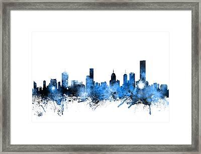 Melbourne Australia Skyline Framed Print by Michael Tompsett