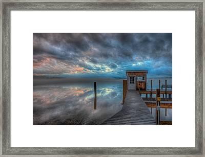 Melvin Village Marina In The Fog Framed Print by Brenda Jacobs
