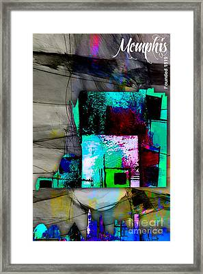 Memphis Map And Skyline Watercolor Framed Print