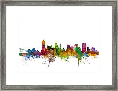 Memphis Tennessee Skyline Framed Print by Michael Tompsett
