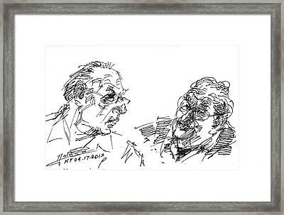 Men Talking Framed Print