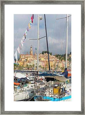 Menton, France.  View Over Harbour Framed Print by Ken Welsh
