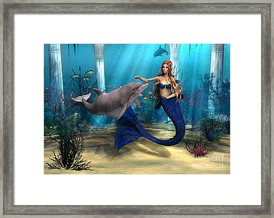 Mermaid And Dolphin Framed Print by Design Windmill