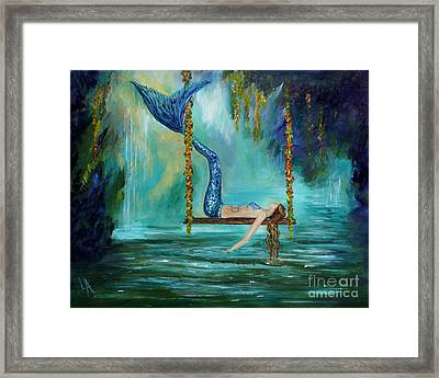 Mermaids Lazy Lagoon Framed Print by Leslie Allen