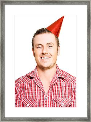 Merry Young Man In A Party Hat Framed Print