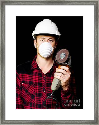 Metal Fabrication Workman With Rotary Disc Sander Framed Print