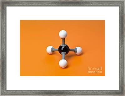 Methane, Molecular Model Framed Print by Martyn F. Chillmaid