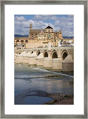 Mezquita And Roman Bridge In Cordoba Framed Print