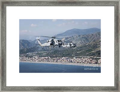 Mh-60s Sea Hawk Helicopters Framed Print by Stocktrek Images