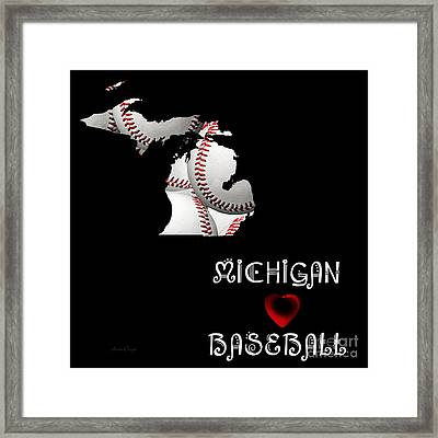 Michigan Loves Baseball Framed Print by Andee Design