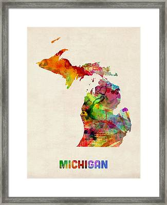 Michigan Watercolor Map Framed Print by Michael Tompsett