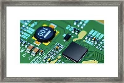 Microchip On Printed Circuit Board Framed Print