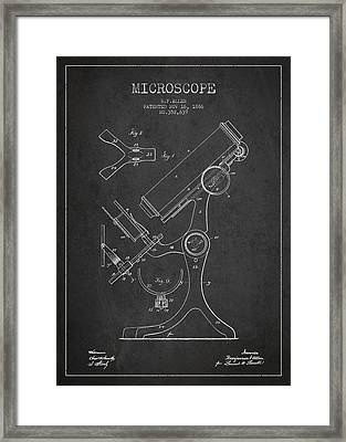 Microscope Patent Drawing From 1886 - Dark Framed Print