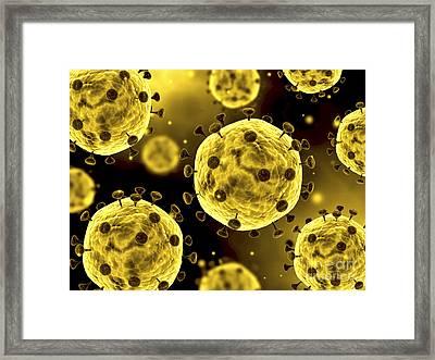 Microscopic View Of Coronavirus Framed Print by Stocktrek Images