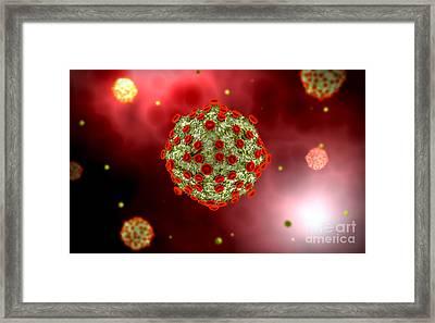 Microscopic View Of Hiv Virus Framed Print by Stocktrek Images