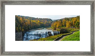 Middle Falls In Autumn, Letchworth Framed Print by Panoramic Images